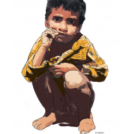 Squatting boy sucking thumb - colour (Artist: Shaw, Rod)
