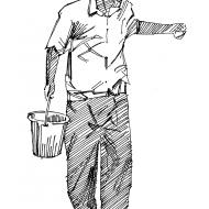 Man with a bucket (Artist: Shaw, Rod)