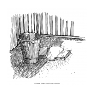 Pour-flush latrine 1 with bucket (Artist: Shaw, Rod)
