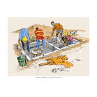 Building a raised latrine - colour (Artist: Shaw, Rod)