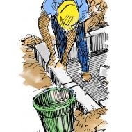Building a raised latrine - colour - detail (Artist: Shaw, Rod)