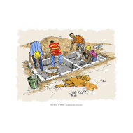 Building a raised latrine - colour v2 (Artist: Shaw, Rod)