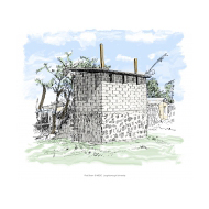 Raised latrines with vent pipes - colour (Artist: Shaw, Rod)