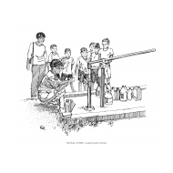 Water sampling at a handpump (Artist: Shaw, Rod)