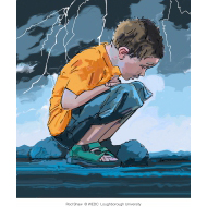Boy crouching down - colour (Artist: Shaw, Rod)