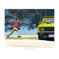 Boy running to a car - colour (Artist: Shaw, Rod)