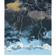 Storm-clouds with lightening - colour (Artist: Shaw, Rod)