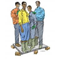 Four men test the strength of a latrine slab - colour (Artist: Shaw, Rod)