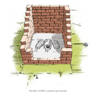 Simple pit latrine with a slab under construction - colour (Artist: Shaw, Rod)