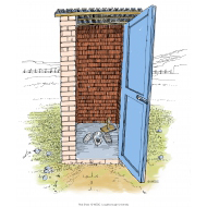 Simple pit latrine with hole cover - colour (Artist: Shaw, Rod)