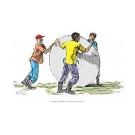 Three men rolling a latrine slab - colour (Artist: Shaw, Rod)