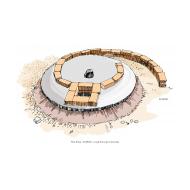 VIP latrine - with slab under construction - colour (Artist: Shaw, Rod)