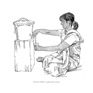 Drawing water from a bucket with tap 2 (Artist: Shaw, Rod)