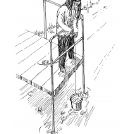 Child using an access platform to collect water from a pond (Artist: Shaw, Rod)