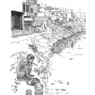 Collecting water from a river (Artist: Shaw, Rod)