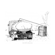 Filling a water container from a tanker (Artist: Shaw, Rod)