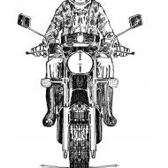 Motorcyclist wearing a helmet (Artist: Shaw, Rod)