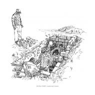 Lining a latrine-pit (Artist: Shaw, Rod)