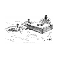 Twin-pit latrine under construction with three figures (Artist: Shaw, Rod)