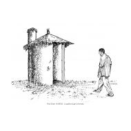 VIP latrine - thatched 2 with figure (Artist: Shaw, Rod)