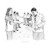 Dissemination - distributing leaflets (Artist: Shaw, Rod)