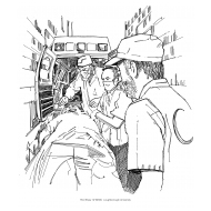 Red Crescent team with ambulance (Artist: Shaw, Rod)
