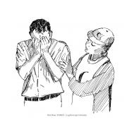 Volunteer comforts a grieving man v1 (Artist: Shaw, Rod)