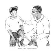 Volunteer talking to medical staff (Artist: Shaw, Rod)