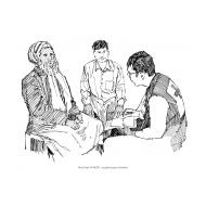 Volunteer talking to village elders (Artist: Shaw, Rod)