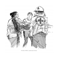Volunteers carrying an injured woman (Artist: Shaw, Rod)