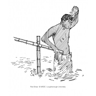 Man holding onto a handrail whilst bathing in-open water (Artist: Shaw, Rod)