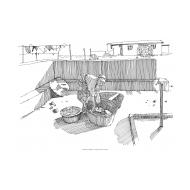 Woman washing clothes in a yard (Artist: Shaw, Rod)