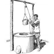Drawing debris from a protected well (Artist: Shaw, Rod)