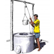 Drawing water from a protected well - colour (Artist: Shaw, Rod)