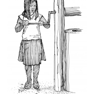 Girl turning a well handle (Artist: Shaw, Rod)