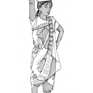 Woman standing and holding a bucket of water on her head (Artist: Shaw, Rod)