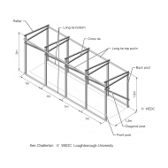 Timber frame for trench latrine superstructure-isometric (Artist: Shaw, Rod)