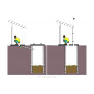 Sanitation ladder - Off-set pour-flush and VIP (Artist: Shaw, Rod)