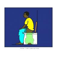 Man defecating - plastic bag night (Artist: Shaw, Rod)
