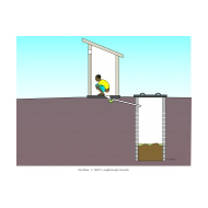 Pour-flush pit latrine with extended pipe v1 - colour (Artist: Shaw, Rod)