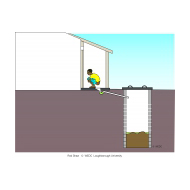 Pour-flush pit latrine with extended pipe v2 - colour (Artist: Shaw, Rod)