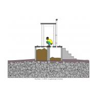 Twin-pit latrine raised - colour (Artist: Shaw, Rod)