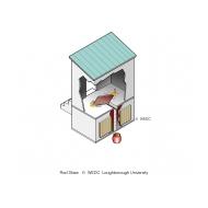 Double-vault urine-diverting latrine isometric - colour (Artist: Shaw, Rod)